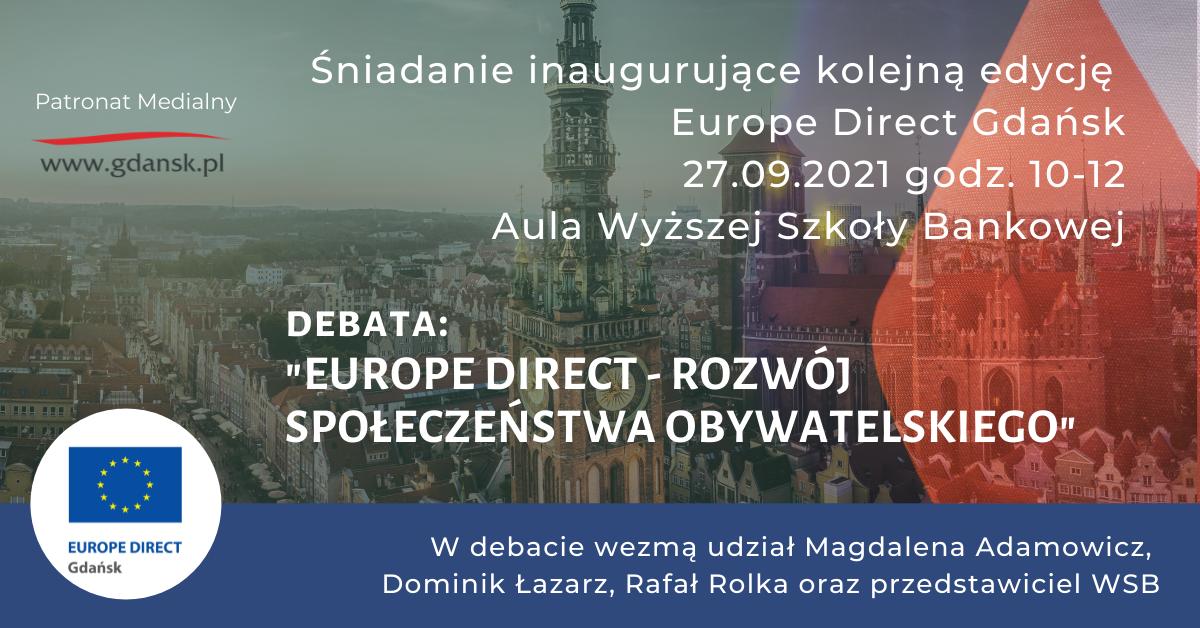 baner promujący debatę: Europe direct - rozwój społeczeństwa obywatelskiego