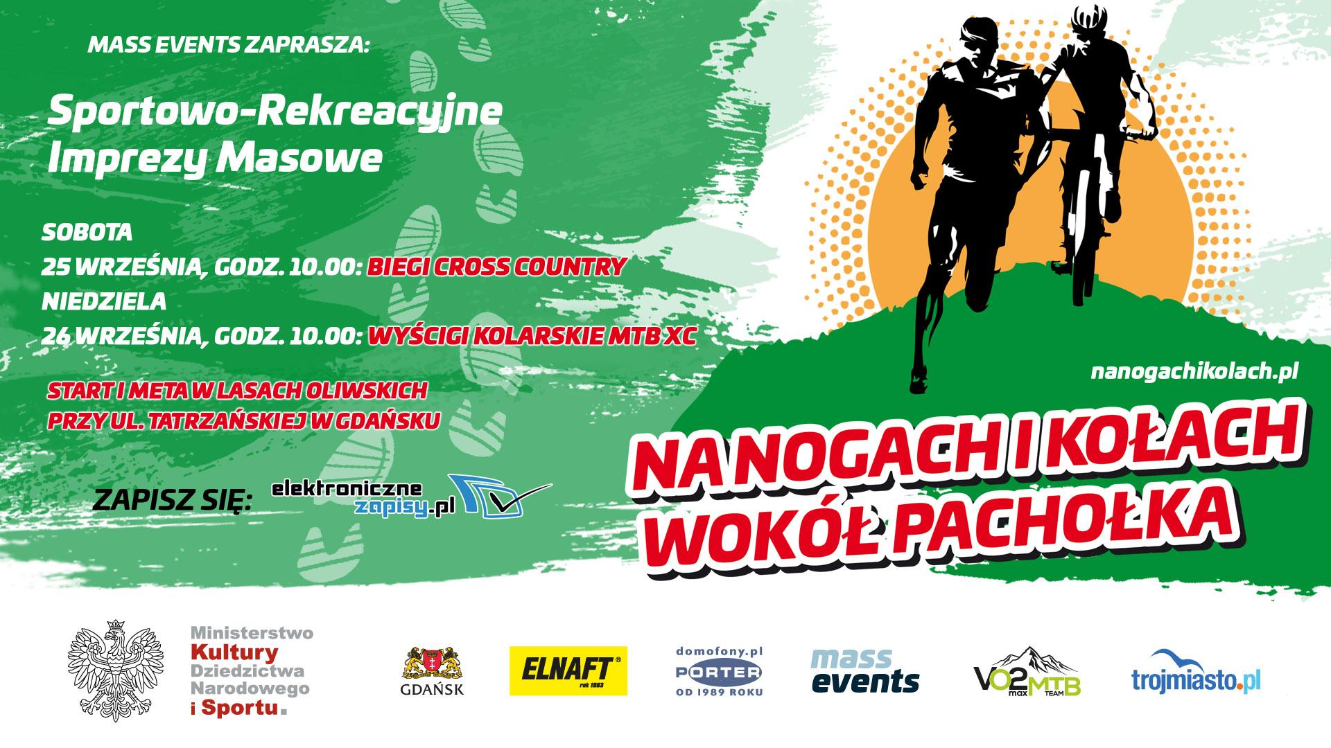 baner promujący zawody Na Nogach iKołach wokół Pachołka