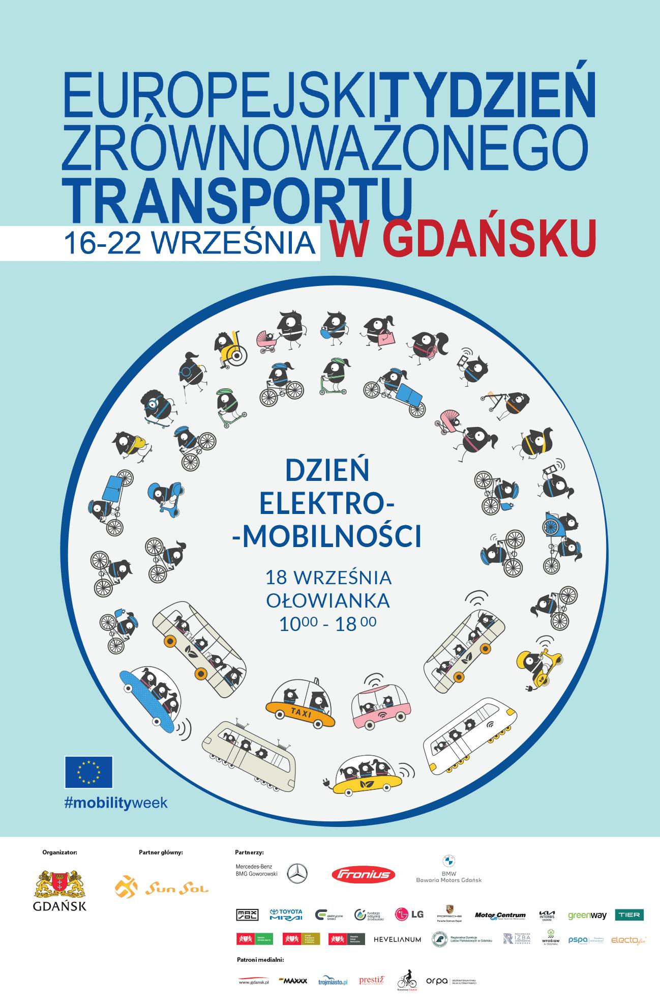 Plakat promujący Europejski Tydzień Zrównoważonego transportu
