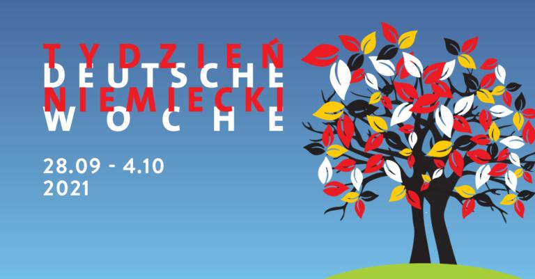 na błękitnym tle zdrzewem: Tydzień Niemiecki 28 września - 4 października