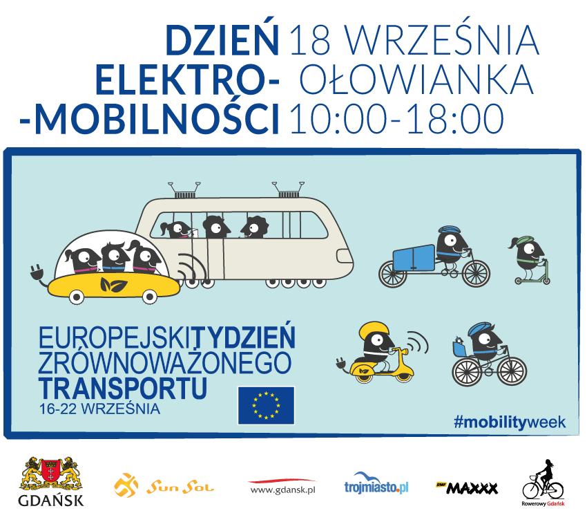 baner promujący Dzień Elektromobilności, który odbędzie się 18 września, wgodzinach od 10.00 do 18.00 na Wyspie Ołowianka